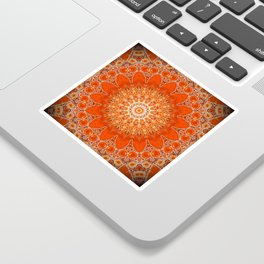Detailed Orange Boho Mandala Sticker