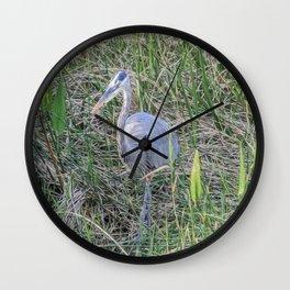 Hello Blue Heron Wall Clock