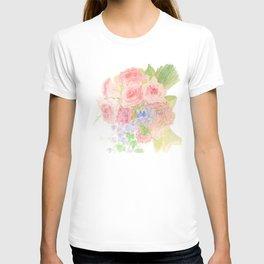 Garden Bouquet Watercolor Wedding Pink Roses T-shirt