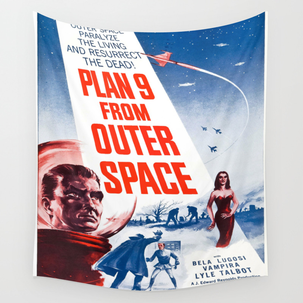Vintage Poster - Plan 9 From Outer Space Wall Tapestry by Mosfunky TPS6175612