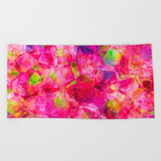 Rose triangles - Pink triangle watercolor pattern Beach Towel