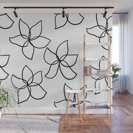 Plumeria Frangipani Tropical Flowers Summer Floral Pattern Wall Mural