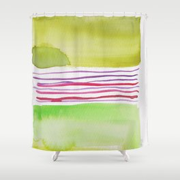 16    |181026 Lines & Color Block | Watercolor Abstract | Modern Watercolor Art Shower Curtain