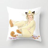 onesie Throw Pillows featuring Remy + Meowth Onesie by wowcherrim