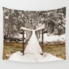 Pericnik Falls Snowy Bridge Wall Tapestry