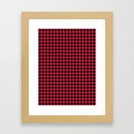 Black and Crimson Red Diamonds Framed Art Print