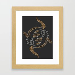 Koi Carp Fish Swimming | Yin Yang Framed Art Print