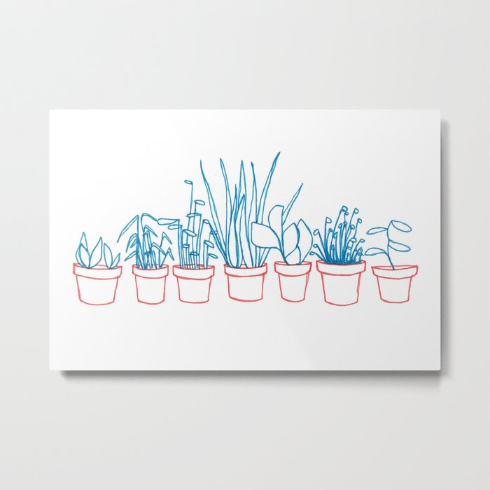 Teal Plants in Red Pots Metal Print