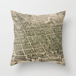 Vintage Pictorial Map of Fredericton New Brunswick (1882) Throw Pillow