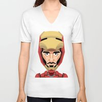 robert downey jr V-neck T-shirts featuring Robert Downey Jr, vector caricature by Kaexi