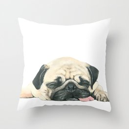 Nap Pug, Dog illustration original painting print Throw Pillow