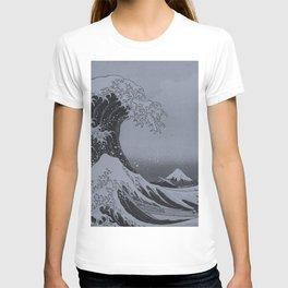 Silver Japanese Great Wave off Kanagawa by Hokusai T-shirt