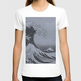 Silver Japanese Great Wave off Kanagawa by Hokusai T-shirt