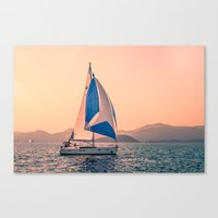 racing Canvas Prints featuring  Yacht racing by Svetlana Korneliuk