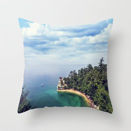 Miners Castle rock formation Throw Pillow