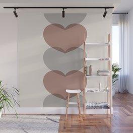 Hearts - Cocoa & Gray Wall Mural