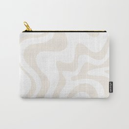 Liquid Swirl Abstract Pattern in Pale Beige and White Carry-All Pouch