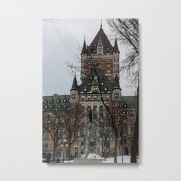 snowy walk to Chateau Frontenac Metal Print