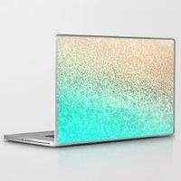 aqua Laptop & iPad Skins featuring GOLD AQUA by Monika Strigel