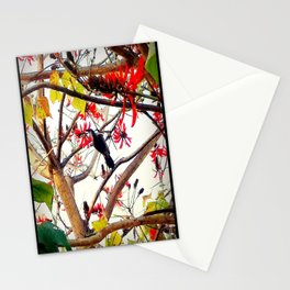 Bird in Coral Tree Stationery Cards