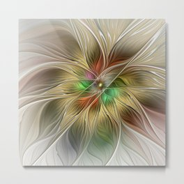 Golden Flourish, Abstract Fractal Art Metal Print