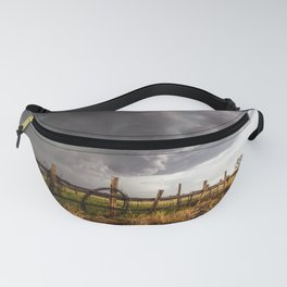 Western Life - Barbed Wire and Storm on the Ranch Fanny Pack