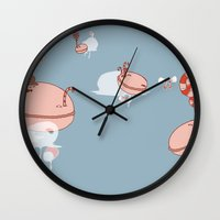 "macaroon Wall Clocks featuring Macaroon Heaven by Barbora ""Mad Alice"" Urbankova"