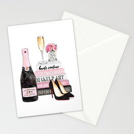 Champagne, pink, books, shoes, peonies, Peony, Fashion illustration, Fashion, Amanda Greenwood Stationery Cards