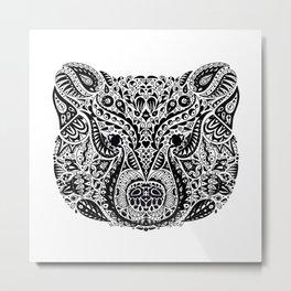 Black and White Ornamental Mama Bear Mandala Metal Print
