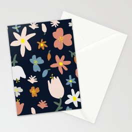 Blooming in the Navy (Handmade Floral Pattern) Stationery Cards