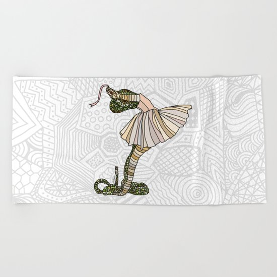 Snake Ballerina Tutu Beach Towel