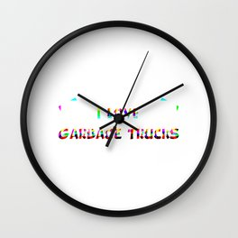 I Love Garbage Trucks Rainbow Wall Clock
