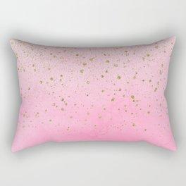 Pink Watercolor & Gold Glitter Rectangular Pillow