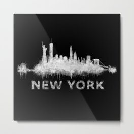 new york nyc city cityscape watercolor white v6 Metal Print
