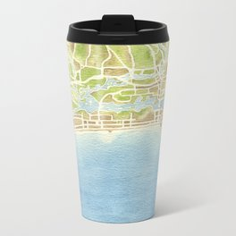 Biloxi Mississippi coast watercolor map Metal Travel Mug