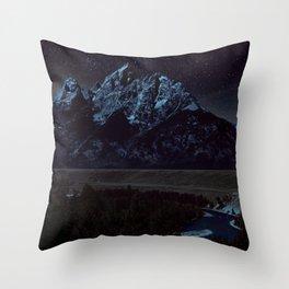 Tetons at Night Throw Pillow