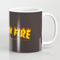 scarface Mugs featuring Scarface She's on Fire  by D-fens