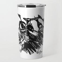 """On The Backstretch"" Hand-Drawn by Dark Mountain Arts Travel Mug"
