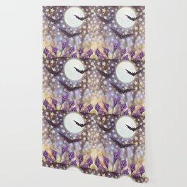 the moon, stars, bats, & calla lilies Wallpaper