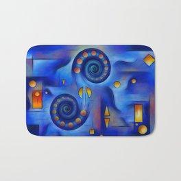 Grefenorium - blue spiral world Bath Mat