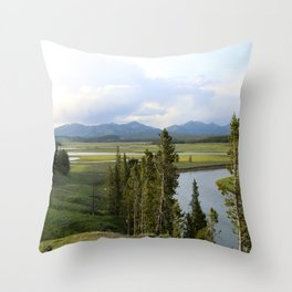 Yellowstone River Valley View Throw Pillow