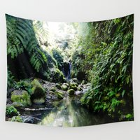 hawaiian Wall Tapestries featuring HAWAIIAN WATERFALLS by Irislynn