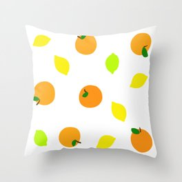 Citrus with Yellow, Orange and Green Oranges, Lemons and Limes Throw Pillow