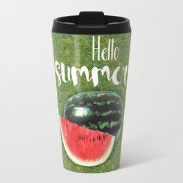 Hello Summer // Green + Red Watermelon Travel Mug