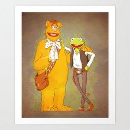 Han the Frog and Chewwie bear Art Print