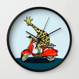 Giraffe riding a moped Wall Clock