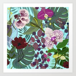 Orchid and Cosmos Flower Botanical Floral Pattern Art Print