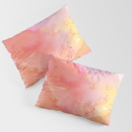 Sunset Color Palette Abstract Watercolor Painting Pillow Sham