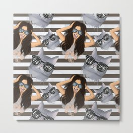 Girl With Glasses Friyay And Cat With Glasses Friyay Pattern Metal Print