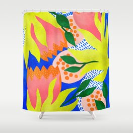 Bold Flowers on Blue Shower Curtain